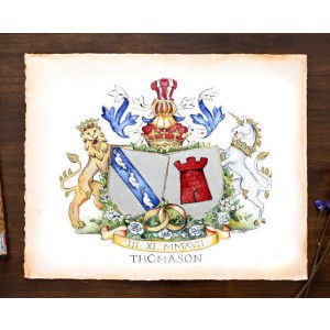 Custom Wedding Gift - Custom Family Crest - Hand Drawn Coat of Arms with Gold Leaf by Jamie Hansen