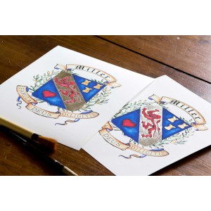 Custom Family Crest- Original Coat of Arms Gold Leafed Art print