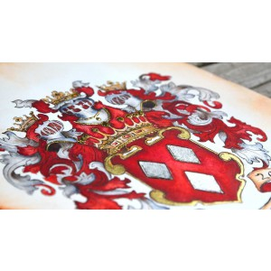 Deposit for a custom coat of arms or custom family crest by Jamie Hansen - custom heraldry watercolor art with gold leaf * Let's get started! *